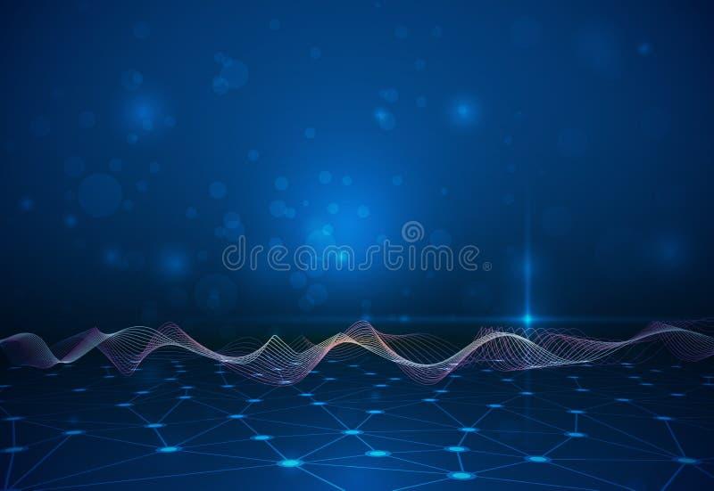 Абстрактная структура молекулы с сеткой выравнивается на синей предпосылке цвета бесплатная иллюстрация