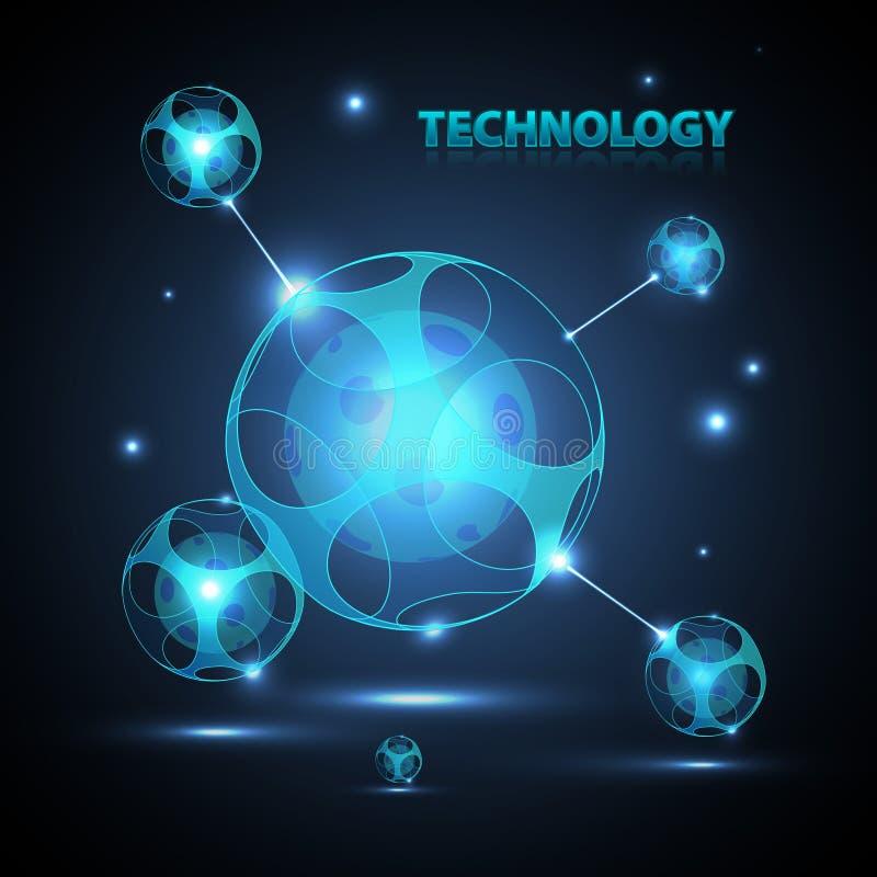 Абстрактная сфера технологии 3d. иллюстрация штока