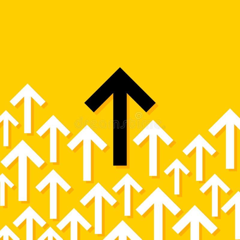 Абстрактная схематическая иллюстрация белых и черных стрелок указывая в одно направление иллюстрация штока