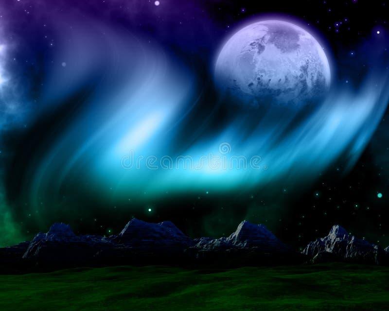 Абстрактная сцена космоса с северным сиянием и выдуманной планетой иллюстрация вектора