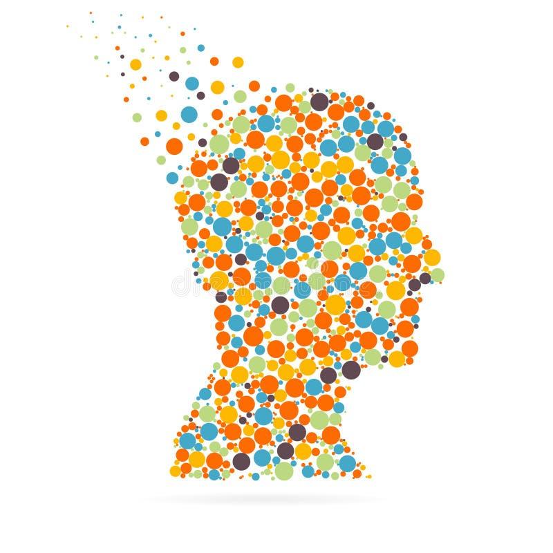 Абстрактная творческая голова силуэта вектора концепции для сети и передвижных применений изолированная на белой предпосылке вект иллюстрация штока