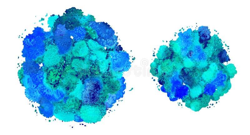Абстрактная текстура акварели, бионическая форма, динамическая синь грека цвета Динамическое развитие Рост Для предпосылки Изолир иллюстрация вектора