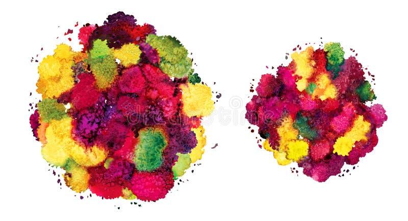 Абстрактная текстура акварели, бионическая форма, динамический цвет желтый и красный Динамическое развитие Рост Для предпосылки o иллюстрация вектора