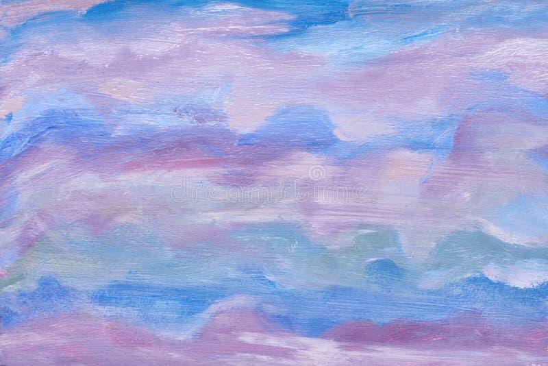 абстрактная текстура неба художническая конструкция голубые цветы покрашенное масло предпосылки Современное художественное произв бесплатная иллюстрация