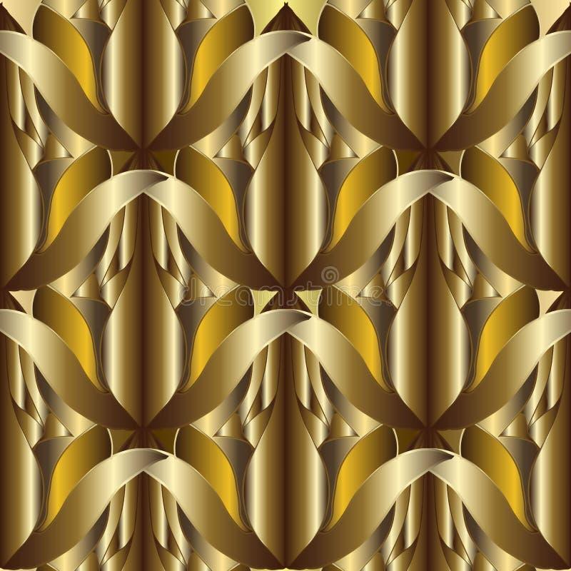 абстрактная текстурированная картина вектора золота 3d безшовная Богато украшенная скороговорка иллюстрация вектора