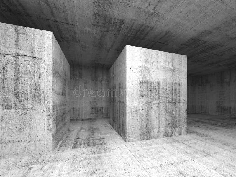 Абстрактная темнота - серая пустая конкретная комната, интерьер 3d бесплатная иллюстрация
