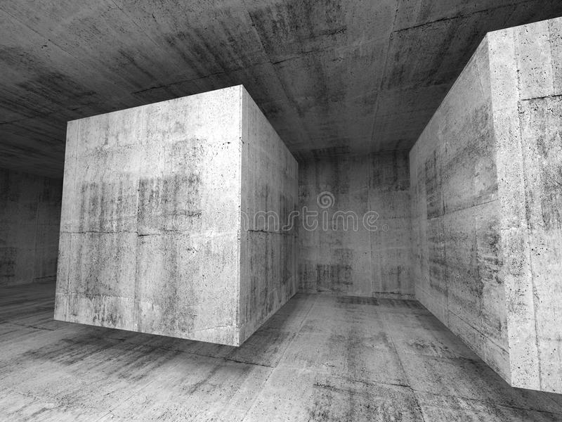 Абстрактная темнота - серый конкретный интерьер предпосылки комнаты 3d иллюстрация штока