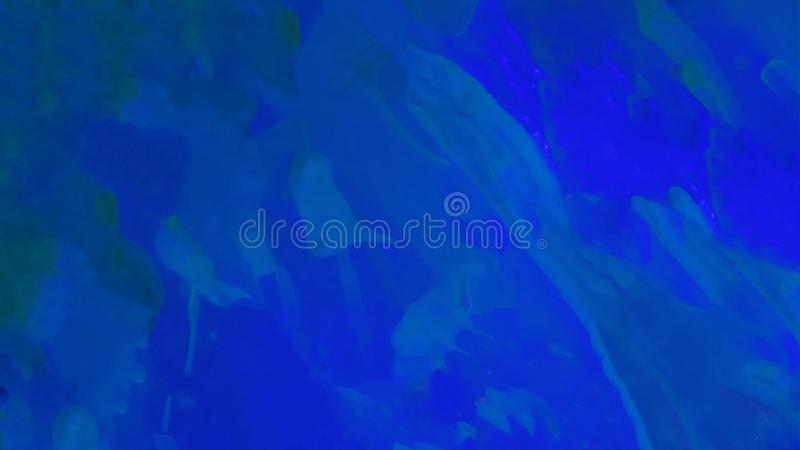 Абстрактная темно-синая предпосылка с акрилом Вертикальные жидкостные лазурные черты с пятнами Неоновые жидкие разводы акварели иллюстрация вектора