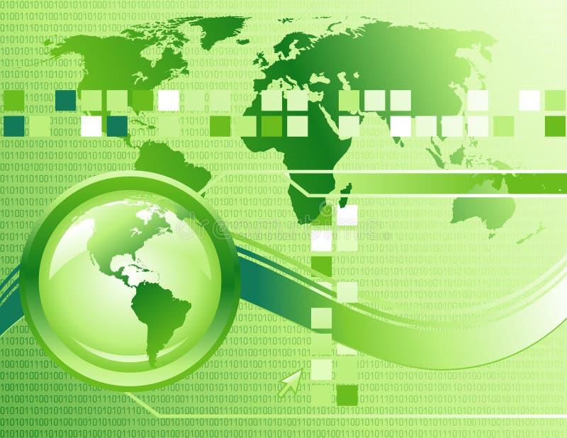 абстрактная технология интернета зеленого цвета предпосылки иллюстрация вектора