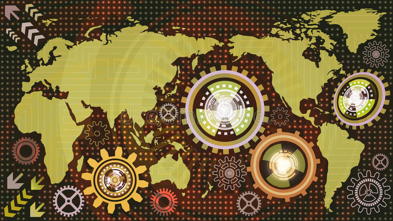 Абстрактная технологическая предпосылка с картой мира и механизмами шестерни машины красной, зеленой, оранжевого, сирени и белых  иллюстрация штока