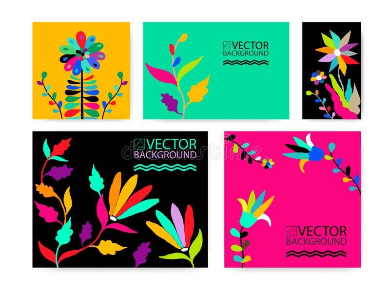 Абстрактная ультрамодная предпосылка иллюстрации, плакат, завод флористического стилизованного otomi кактуса суккулентный, вводит бесплатная иллюстрация
