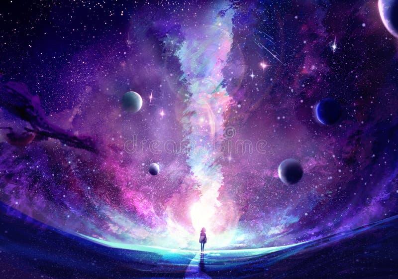 Абстрактная уникальная молодая женщина стоя в середине отказа галактики стоковые фото
