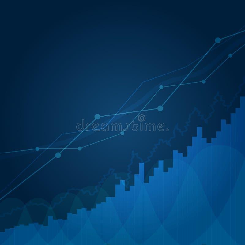 Абстрактная финансовая диаграмма с линией диаграммой тенденции к повышению в фондовой бирже на голубой предпосылке Диаграмма дела иллюстрация штока
