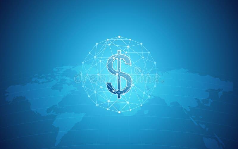 Абстрактная финансовая предпосылка с долларом подписывает внутри сферу сети и карту мира на цвете сини градиента иллюстрация вектора
