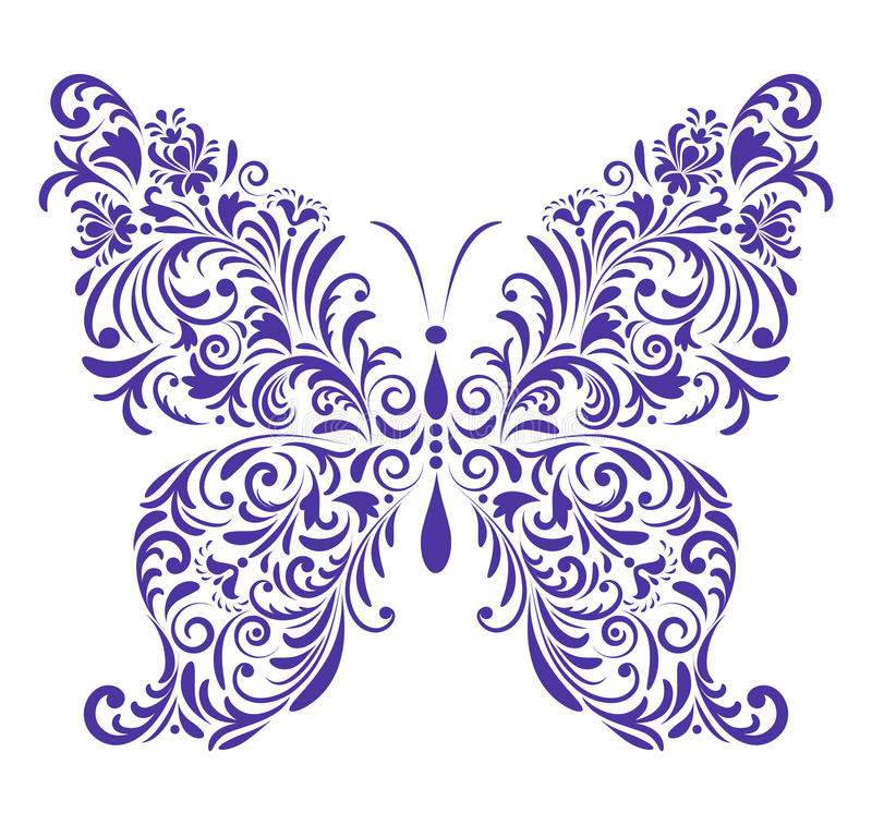 Абстрактная флористическая бабочка иллюстрация вектора
