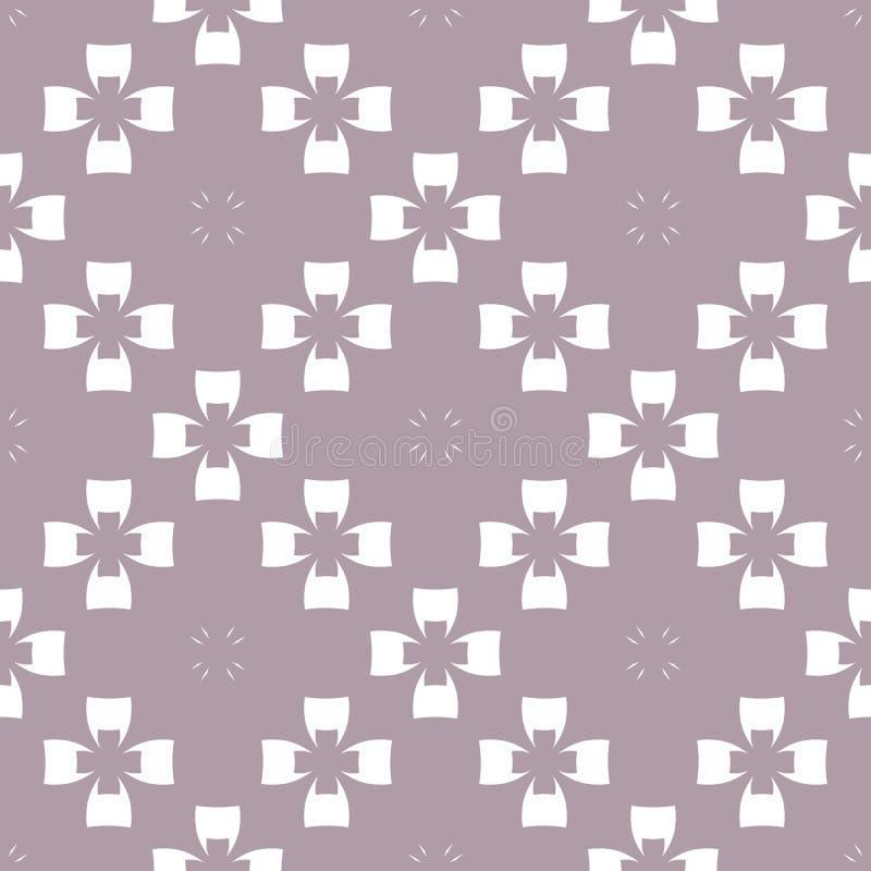 Абстрактная флористическая безшовная картина Бледный пурпурный и белый орнамент с силуэтами цветка, крестами иллюстрация штока