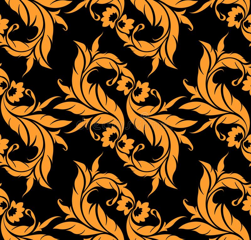 Абстрактная флористическая безшовная предпосылка на черной предпосылке бесплатная иллюстрация
