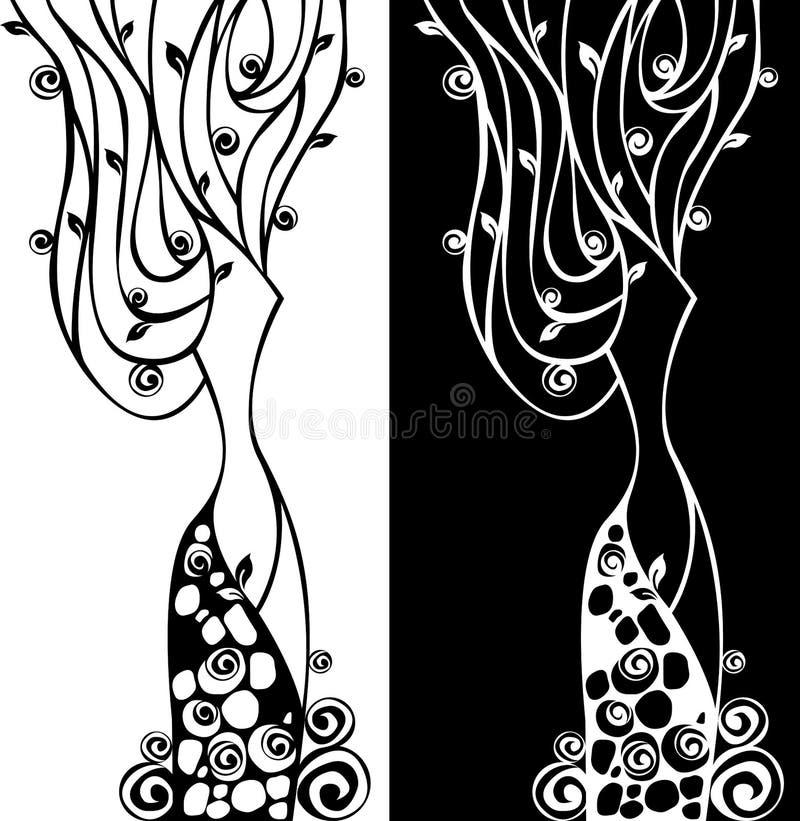 абстрактная флористическая женщина иллюстрация штока