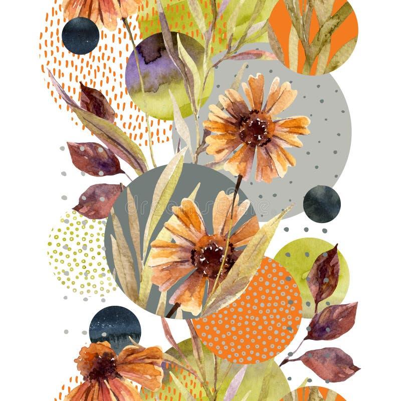 Абстрактная флористическая и геометрическая безшовная картина иллюстрация штока