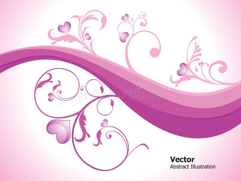 абстрактная флористическая лоснистая влюбленность сердец иллюстрация вектора
