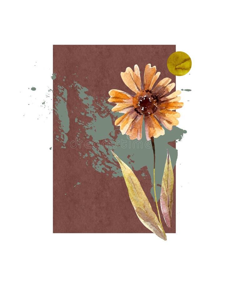 Абстрактная флористическая предпосылка: цветки падения акварели и листья, минимальные, геометрические элементы, brushstroke grung иллюстрация вектора