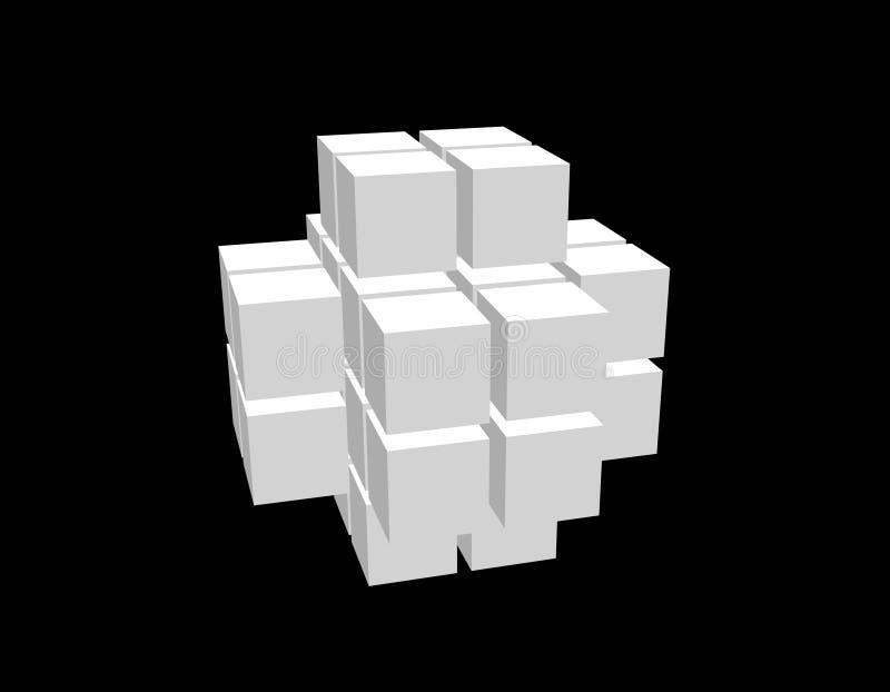 Абстрактная форма 3d от кубов Изолировано на черной предпосылке бесплатная иллюстрация