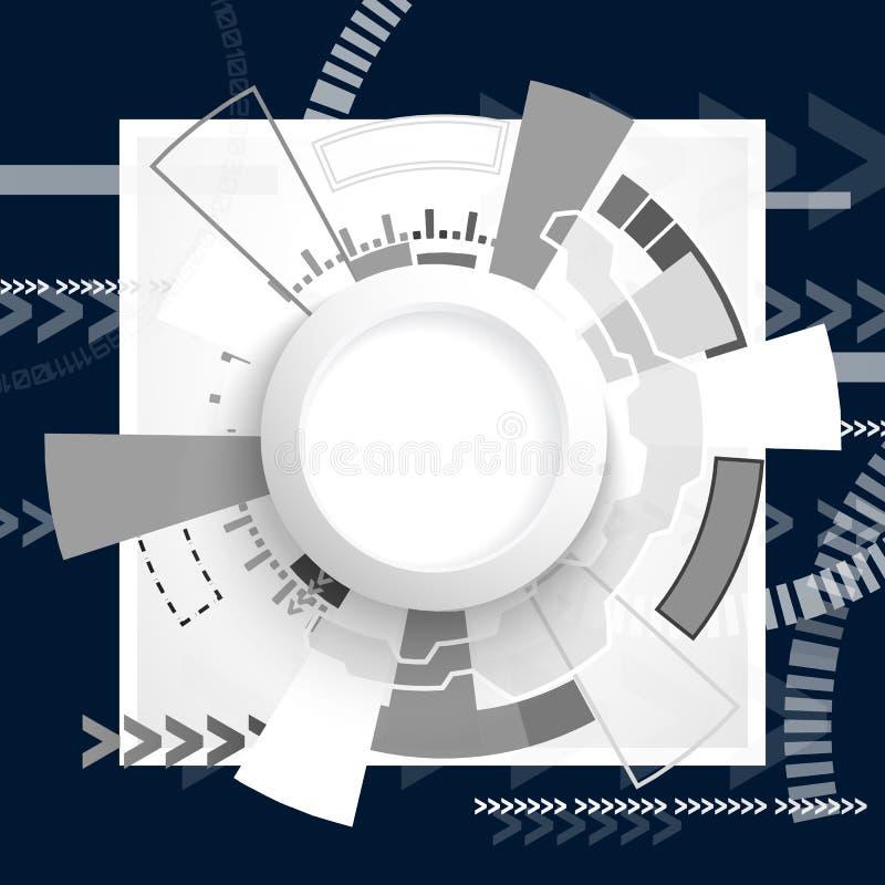 Абстрактная футуристическая монтажная плата, концепция цифровой технологии компьютера высок-техника, пустой круг бумаги белизны 3 бесплатная иллюстрация