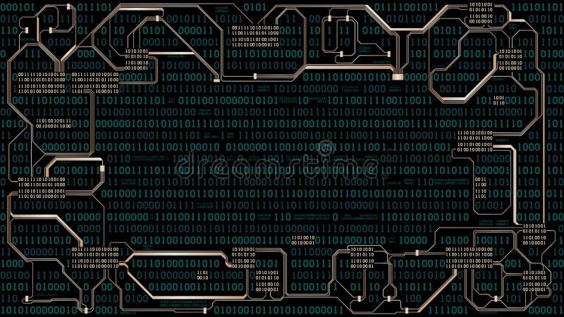 Абстрактная футуристическая монтажная плата радиотехнической схемы с бинарным кодом, предпосылкой цифровой технологии компьютера, иллюстрация вектора