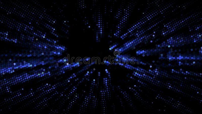 Абстрактная футуристическая предпосылка с квадратами различных размеров и различными тенями сини также вектор иллюстрации притяжк иллюстрация штока