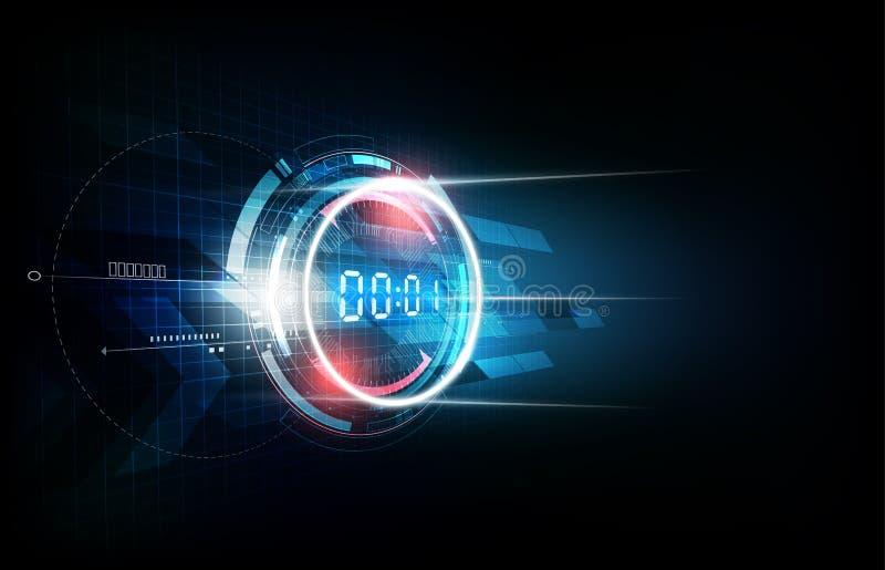 Абстрактная футуристическая предпосылка технологии с концепцией таймера номера цифров и комплексом предпусковых операций, иллюстр иллюстрация вектора