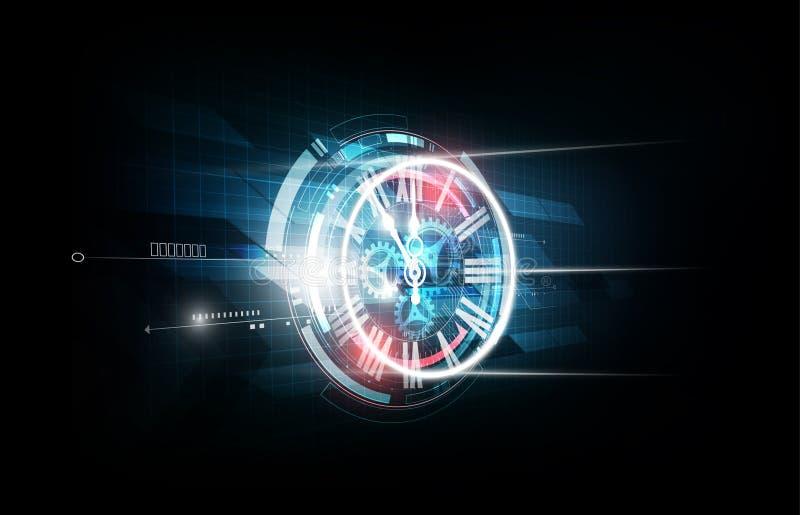 Абстрактная футуристическая предпосылка технологии с машиной концепции и времени часов, иллюстрацией вектора иллюстрация штока