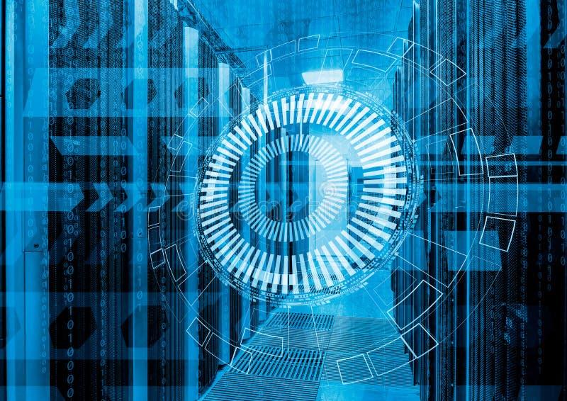 Абстрактная футуристическая предпосылка на конце вверх по современному интерьеру комнаты сервера, супер компьютера, ce данных стоковые фотографии rf
