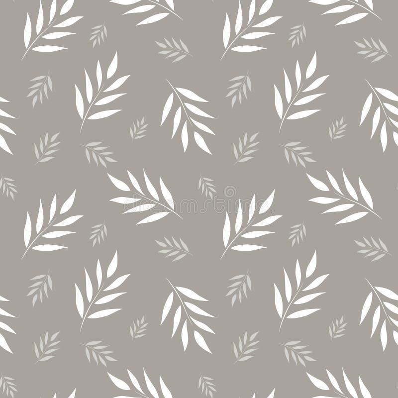 абстрактная флористическая картина безшовная Серая и белая предпосылка вектора Листья орнаментируют для оборачивать, обои, плитки иллюстрация вектора