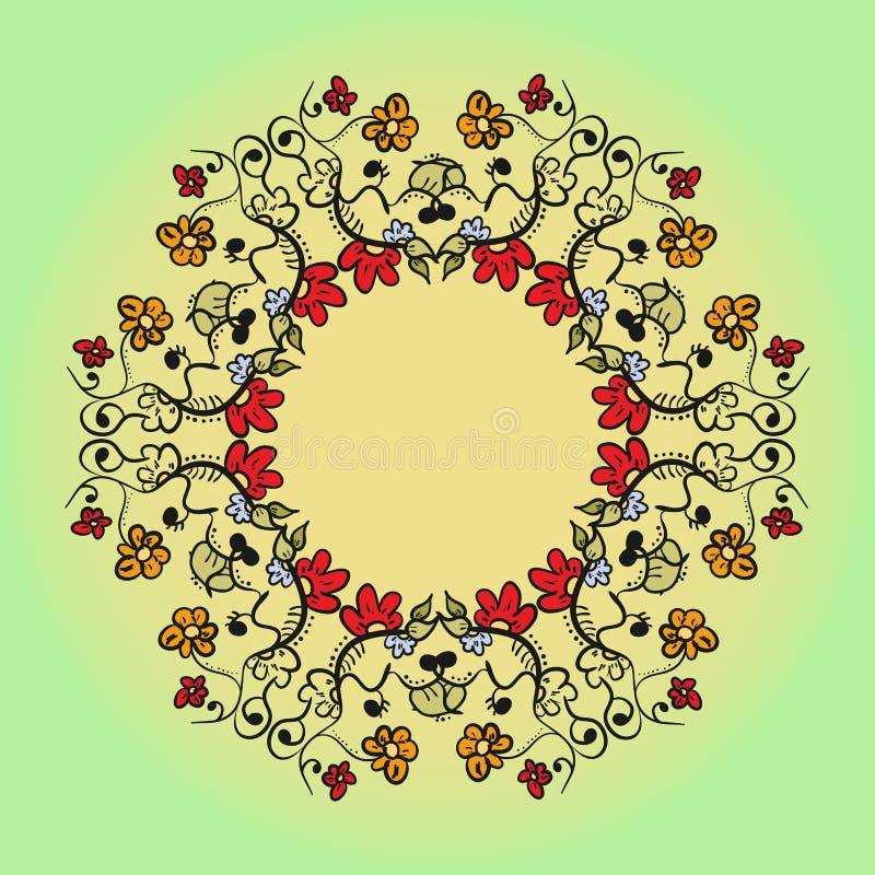 Абстрактная флористическая картина предпосылки doodle Круговой орнамент бесплатная иллюстрация
