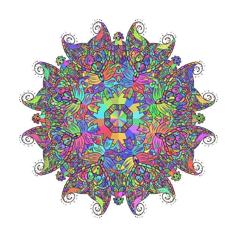 Абстрактная флористическая картина предпосылки doodle Круговой орнамент иллюстрация вектора