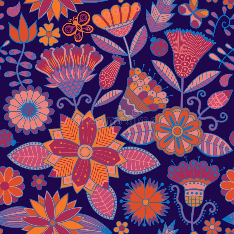 Абстрактная флористическая предпосылка, картина темы лета безшовная, vecto бесплатная иллюстрация