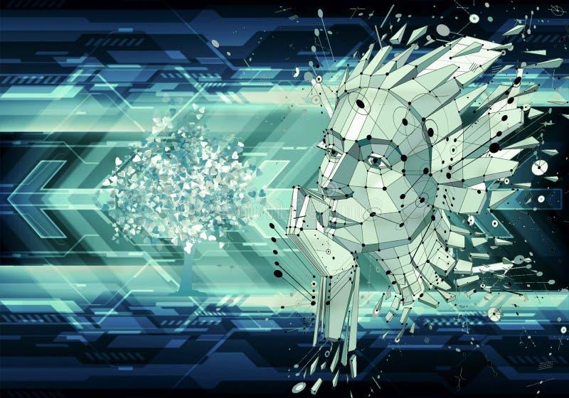 Абстрактная художественная иллюстрация 3d красочные соединенные точки и линии стороны человека на футуристической современной пре иллюстрация вектора