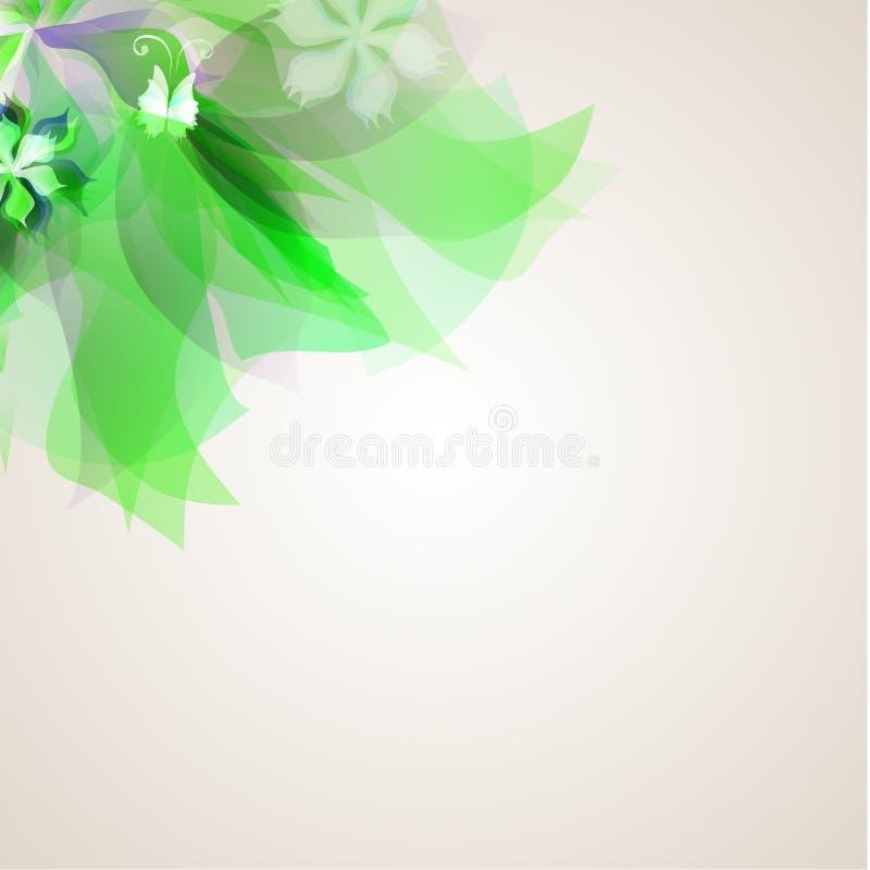 Абстрактная художническая предпосылка с зеленое флористическим бесплатная иллюстрация