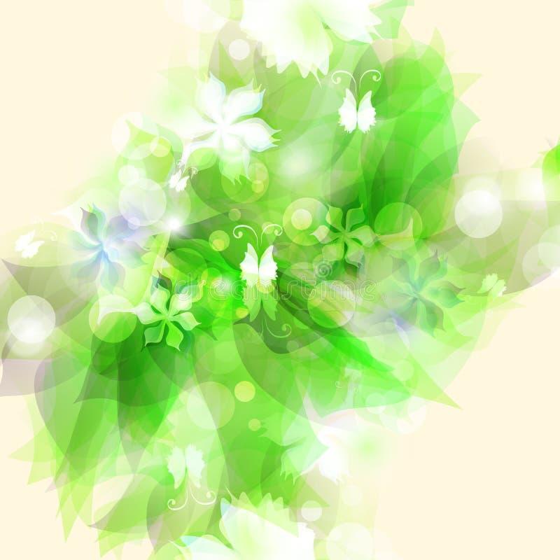Абстрактная художническая предпосылка с зеленое флористическим иллюстрация вектора