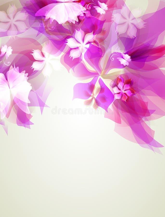 Абстрактная художническая предпосылка с розовым флористическим элементом иллюстрация вектора