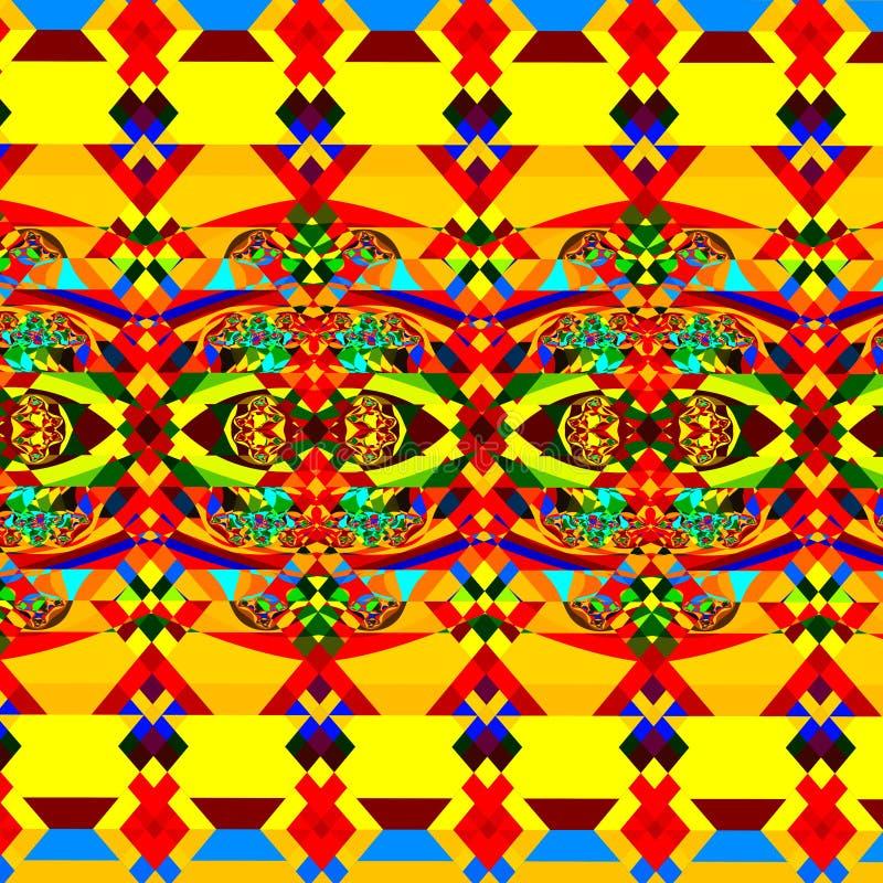 абстрактная цветастая картина Геометрическое искусство предпосылки Иллюстрация фрактали цифров Хаотическое декоративное изображен иллюстрация штока
