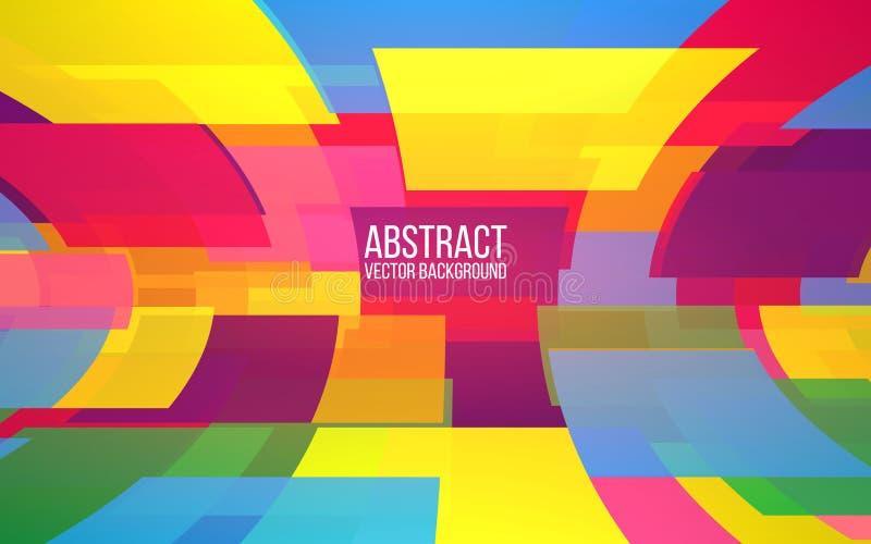 абстрактная цветастая мозаика Придает квадратную форму предпосылке Динамические формы в перспективе Ультрамодный дизайн для вебса иллюстрация вектора
