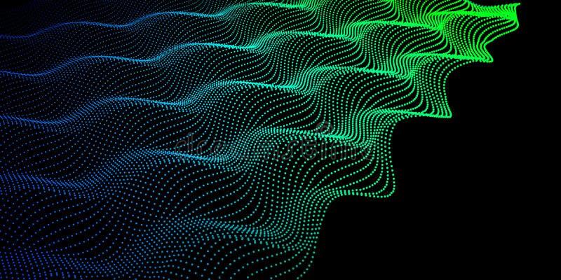 Абстрактная цифровая волна шума точек Vec предпосылки технологии иллюстрация вектора