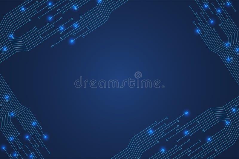 Абстрактная цифровая предпосылка с текстурой монтажной платы технологии иллюстрация вектора