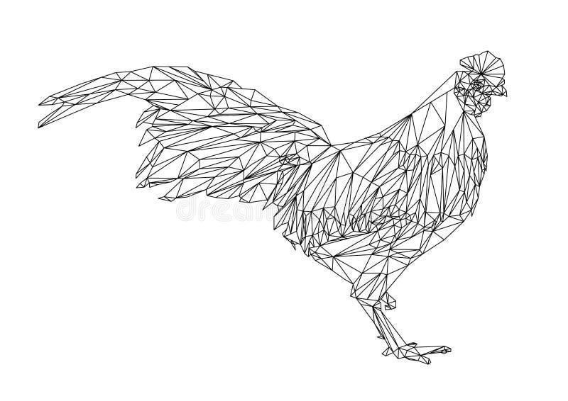 Абстрактная черная линия цыпленок полигона геометрический, ани фермы треугольника иллюстрация штока
