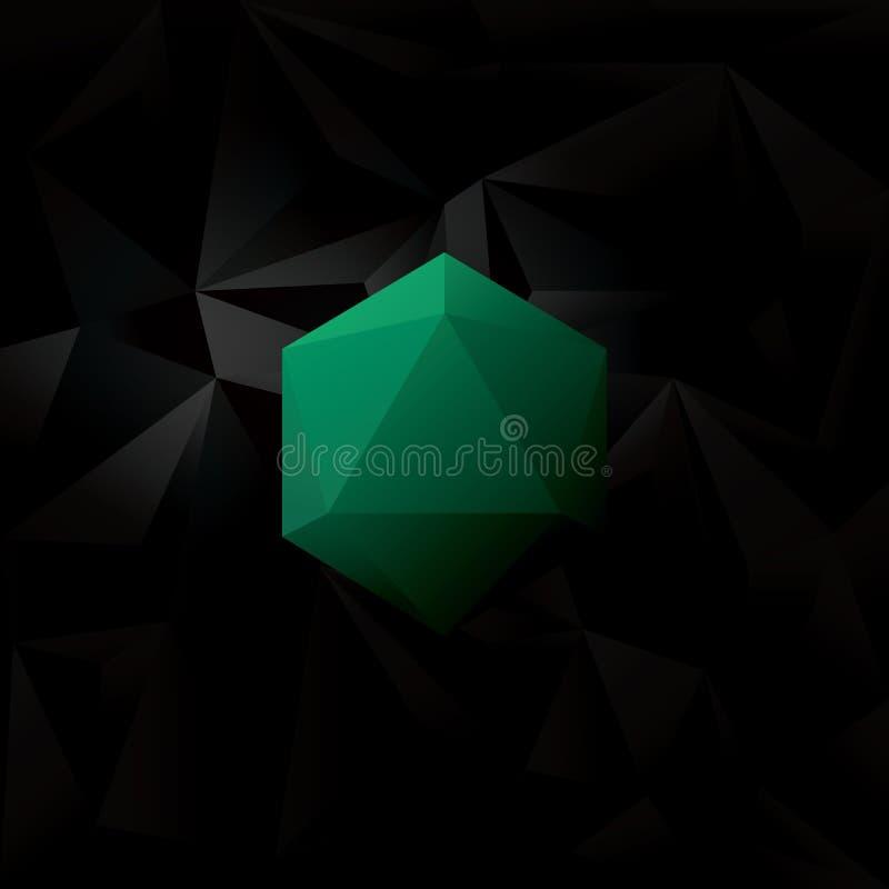 Абстрактная черная низкая поли предпосылка с формой голубого геометрического диаманта шестиугольной иллюстрация штока