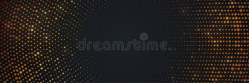 Абстрактная черная предпосылка с точками комбинации накаляя золотыми Предпосылка круга черная текстурированная со светить золотом иллюстрация вектора