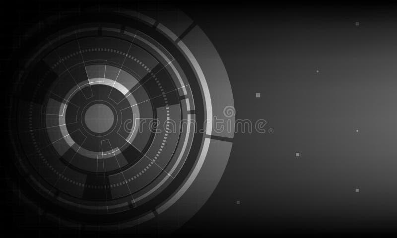 Абстрактная черная предпосылка цифровой технологии круга, футуристическая предпосылка концепции элементов структуры иллюстрация вектора