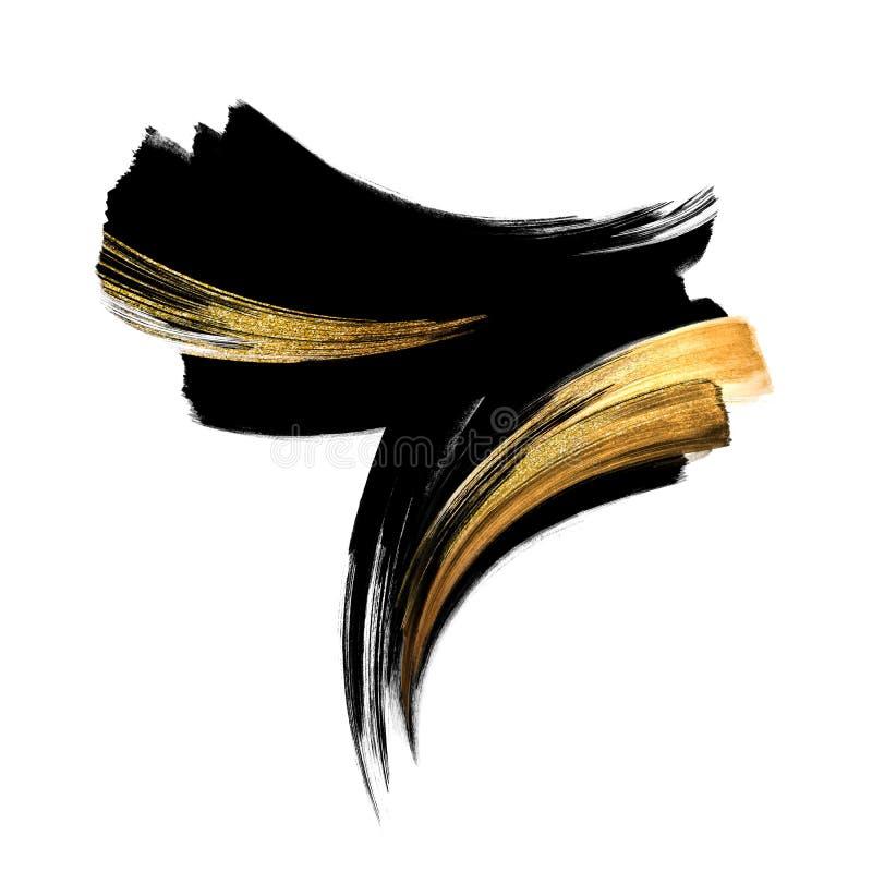 Абстрактная черная чернила каллиграфическая форма с золотым мазком, современные мазки кистью с гуаше, рисованное вручную изображе бесплатная иллюстрация