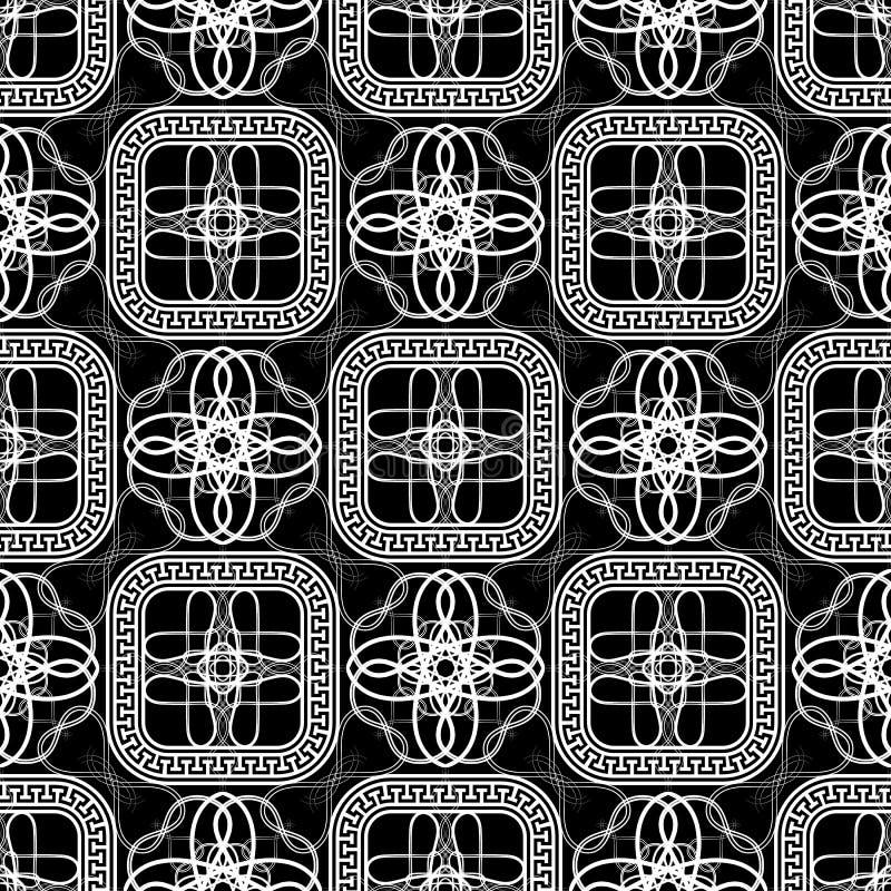 Абстрактная черно-белая линия картина греческого вектора tracery искусства безшовная Геометрическая орнаментальная современная пр иллюстрация вектора